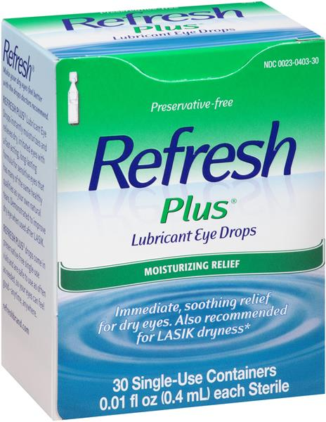 Refresh Plus Lubricant Eye Drops 30 Single Use Containers ...