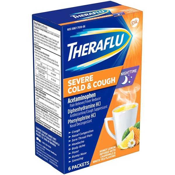 Theraflu Nighttime Severe Cold Cough Packets Honey Lemon Hy Vee