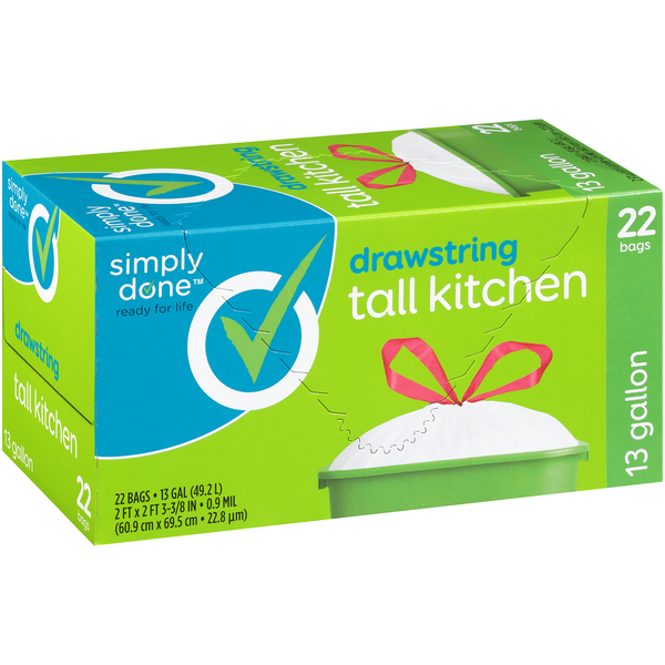 Simply Done Drawstring Tall Kitchen Bags 13 Gallon
