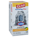 Glad ForceFlex Plus Tall Kitchen Bags, Grips-The-Can, Drawstring, Lemon Fresh Bleach Scent, 13 Gallon