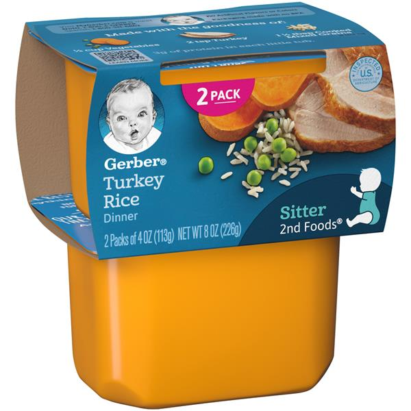 Gerber 2nd Foods Turkey Amp Rice Nutritious Dinner 2 Pack
