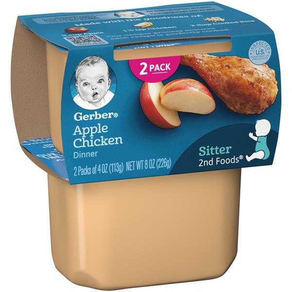 Gerber 2nd Foods Apples Chicken Nutritious Dinner 2 Pack Hy Vee