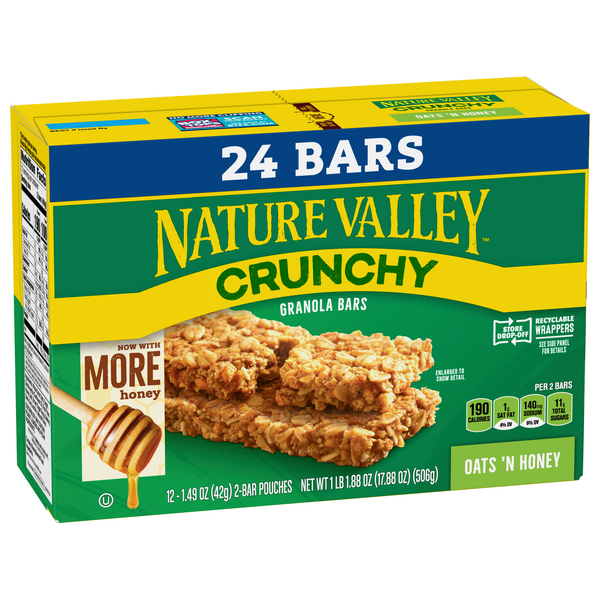 Nature Valley Oats 'n Honey Crunchy Granola Bars 12-1.5 oz Pouches