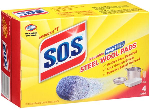 S O S Reusable Soap Filled Steel Wool Cleaning Pads 4ct