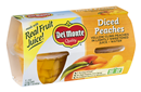 Del Monte Diced Peaches In 100% Juice 4-4 Oz Cups Peach Fruit Cups 4 Pack