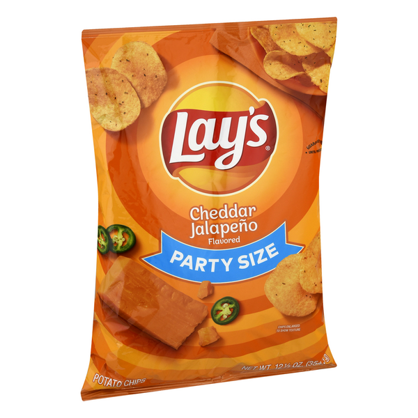 Lay's Potato Chips Cheddar Jalapeno Party Size