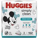Huggies Simply Clean Fresh Scented Baby Wipes, Soft Pack  Alcohol-free, Hypoallergenic (Packaging May Vary) 3 - 64Ct Packs