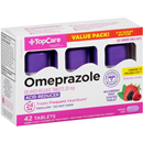 TopCare Omeprazole Acid Reducer Wildberry Mint Flavor Tablets 3-14 Day Course