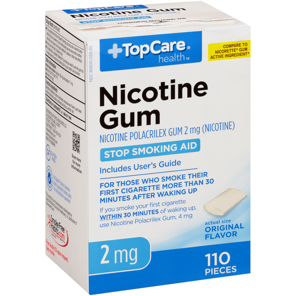 Top Care Nicotine Polacrilex Gum 2 Mg Stop Smoking Aid, Original Flavor