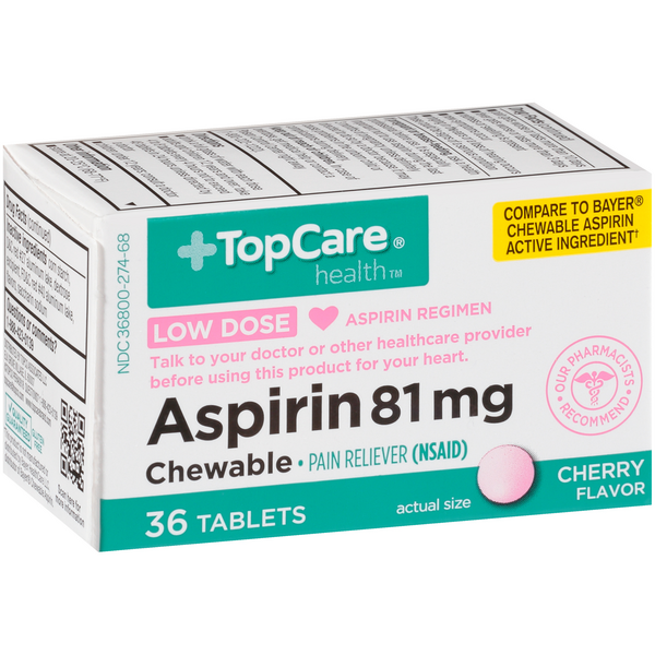 TopCare Aspirin 81mg Chewable Cherry Flavored Tablets