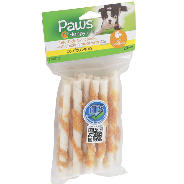 Paws Premium with Chicken Wrap Combo Wraps Rawhide Twist Sticks 20 Pk
