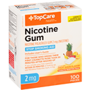 Top Care Nicotine Gum Polacrilex 2 Mg Coated Fruit Flavor Stop Smoking Aid