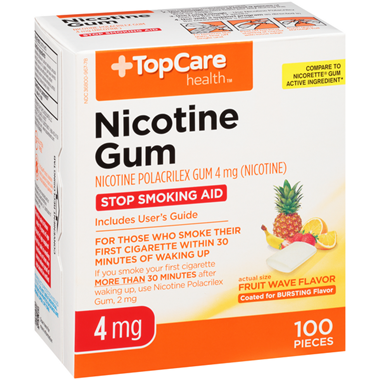 TopCare Nicotine Polacrilex Gum USP 4 Mg Coated Fruit Flavor Stop Smoking Aid