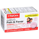 TopCare Health Children's Pain & Fever 160mg Chewable Tablets Bubble Gum Flavor