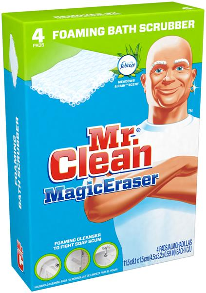 Awesome Mr. Clean Magic Eraser Foaming Bath Scrubber 4 Ct Box