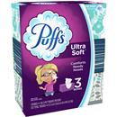 Puffs Ultra Soft Non-Lotion Facial Tissue, 3 Family Boxes, 124 Facial Tissues per Box