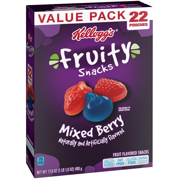Kellogg's Mixed Berry Fruity Snacks 22-0.8 oz Pouches