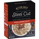 Better Oats Steel Cut Maple & Brown Sugar Instant Oatmeal with Flaxseeds 10 Pouches