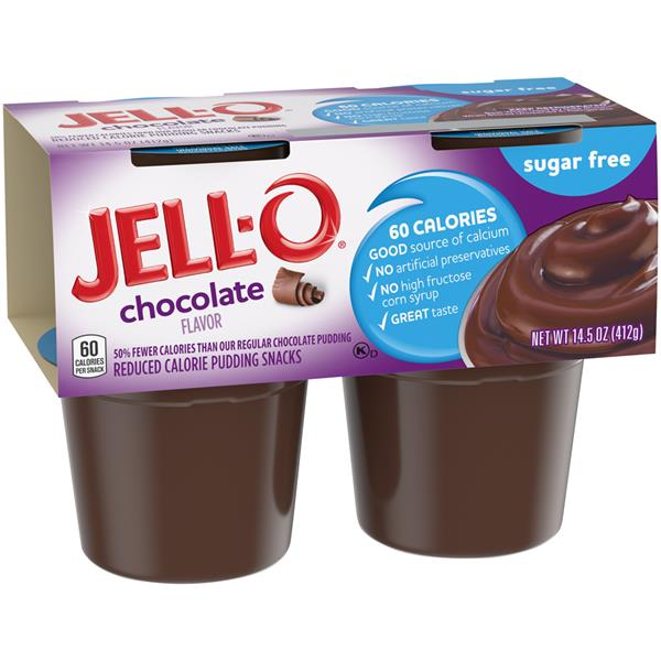 Jell O Sugar Free Chocolate Reduced Calorie Pudding Snacks 4 Pk Cups Hy Vee Aisles Online Grocery Shopping