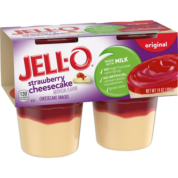 Jell O Ready To Eat Strawberry Cheesecake Pudding Cups Hy Vee Aisles Online Grocery Shopping