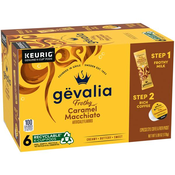gevalia caramel macchiato espresso kcup packs u0026 froth packets hyvee aisles online grocery shopping - Espresso K Cups