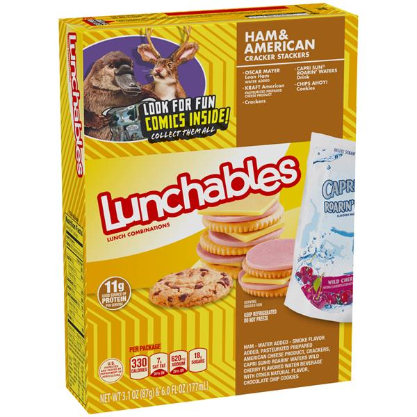 Lunchables Ham American Cracker Stackers Lunch  bination With Capri Sun Roarin Waters Drink on bologna oscar mayer ham