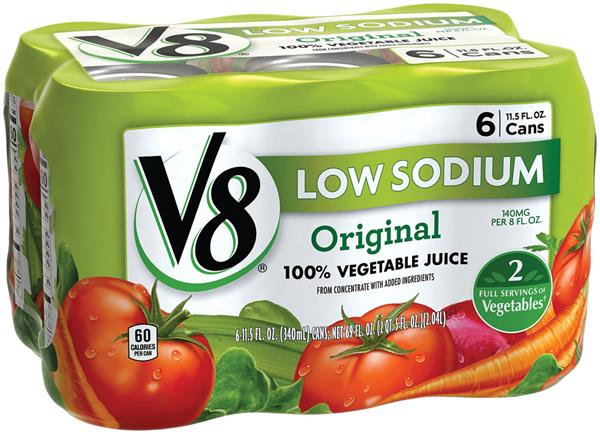 V8 Low Sodium Original 100% Vegetable Juice 6Pk