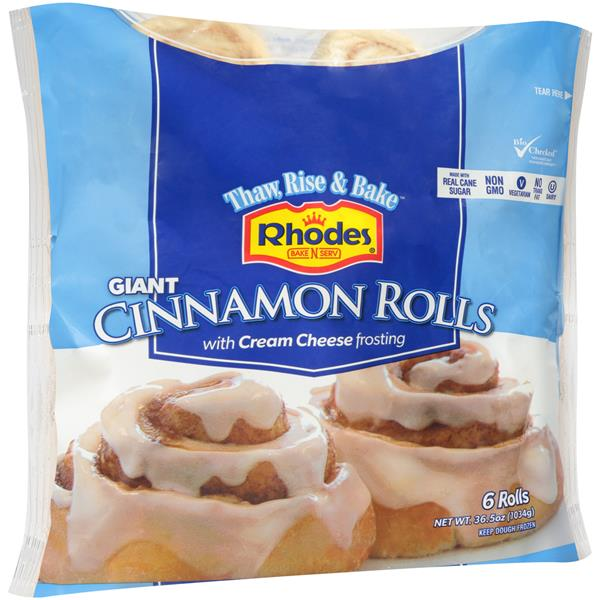 Rhodes Bake N Serv Giant Cinnamon Rolls With Cream Cheese Frosting
