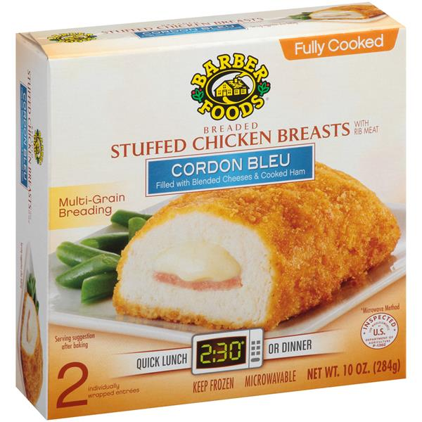 Barber Foods Cordon Bleu Breaded Fully Cooked Stuffed Chicken