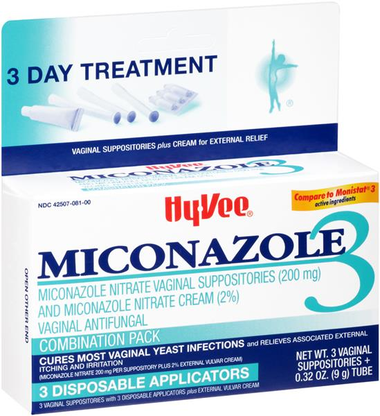 Hy Vee Miconazole 3 Vaginal Antifungal Combination Pack Hy Vee