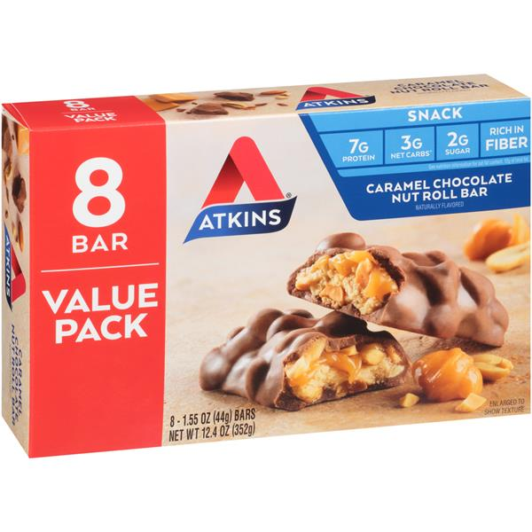 Atkins Caramel Chocolate Nut Roll Bar 8-1.55 oz Bars